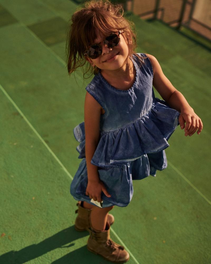 WAVE COLDDYE DRESS/ niebieska