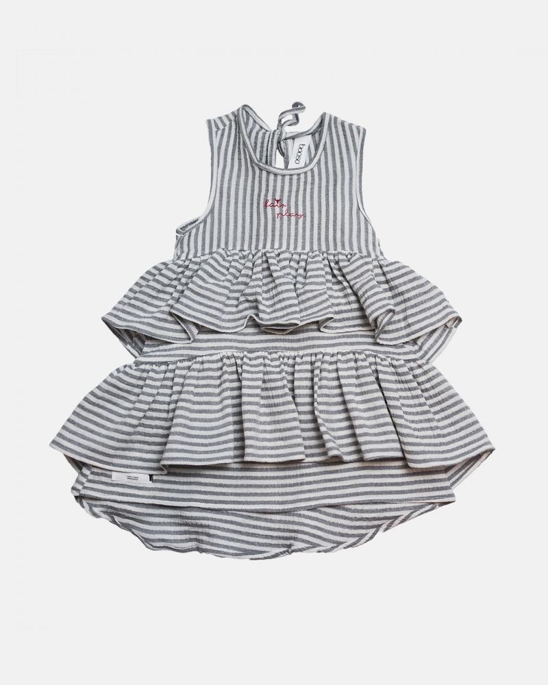 WAVE DRESS ecru/szara