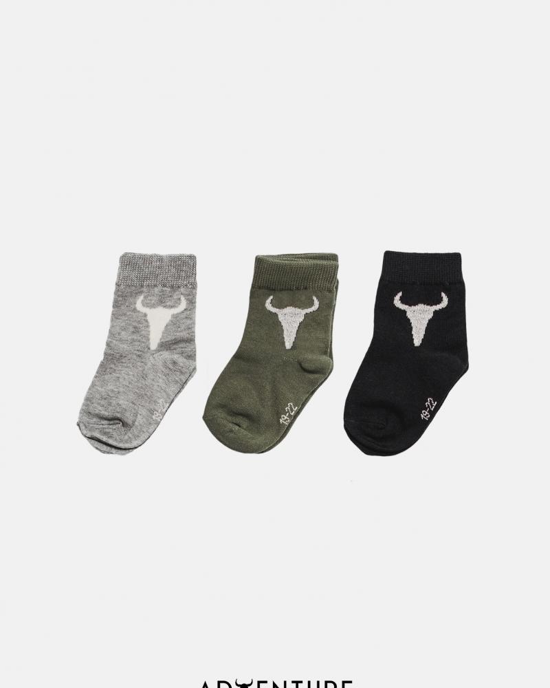 SOCKS PACK x3 gray/green/black