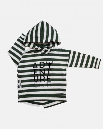 Simple hoodie ecru/zieleń