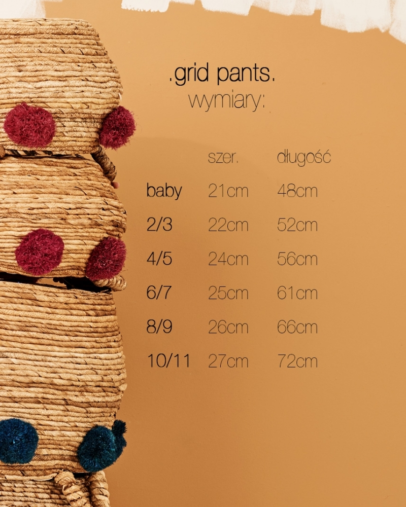 GRID PANTS ecru/ochra