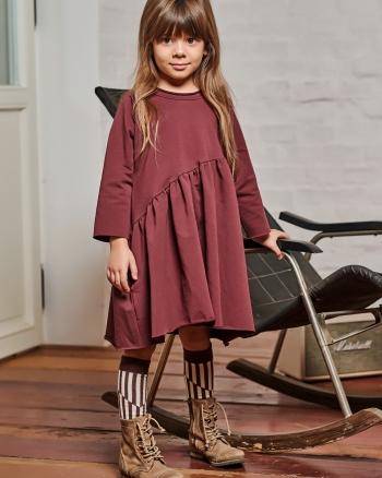 BEVEL DRESS burgund