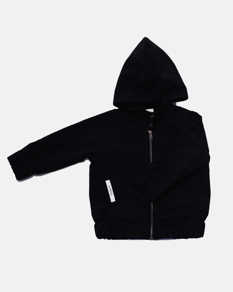 BLACK NYLON BOMBER black