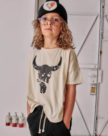 WIDE BISON TEE ecru/black