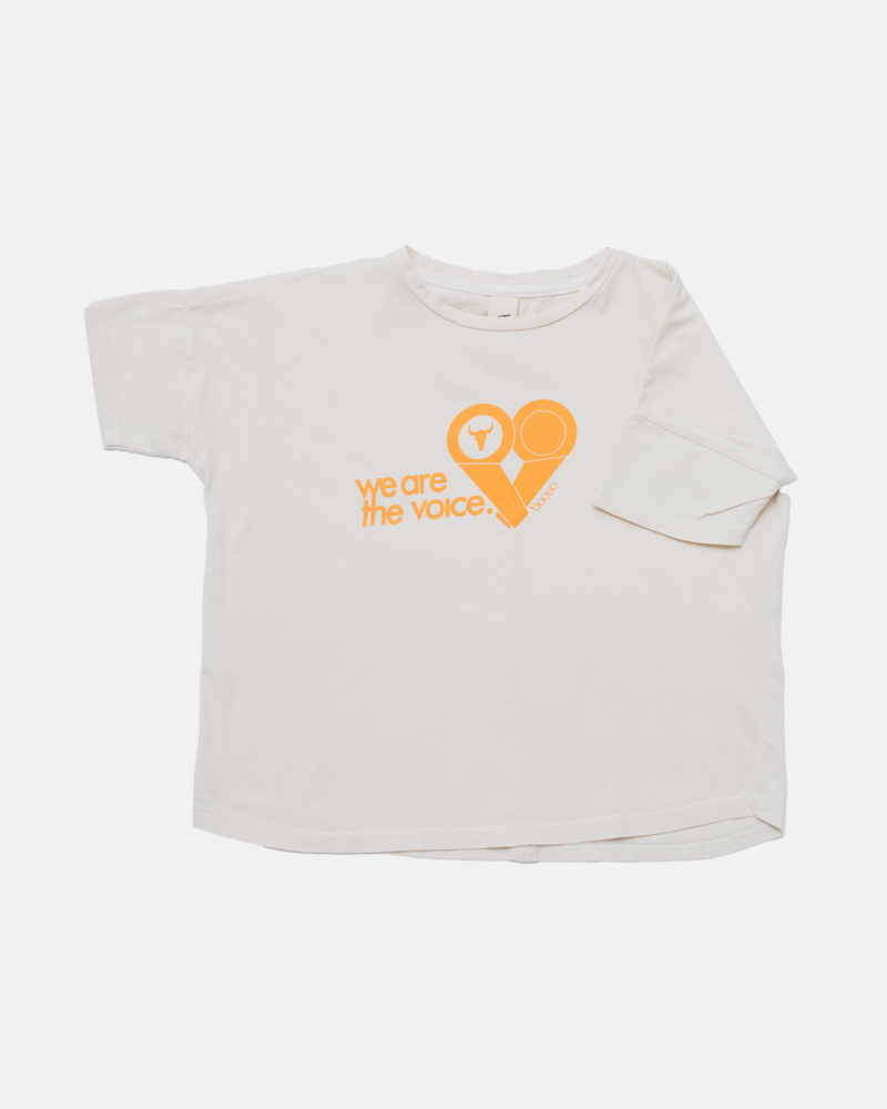 WIDE VOICE TEE ecru/orange