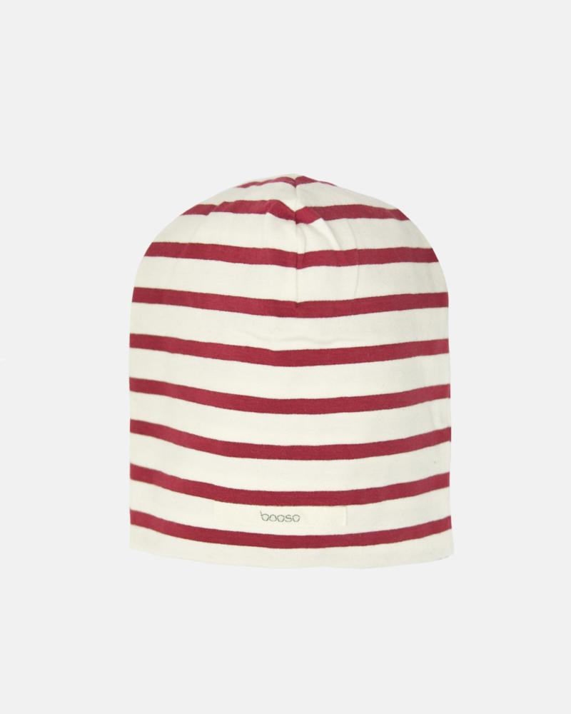 Striped Beanie ecru/red