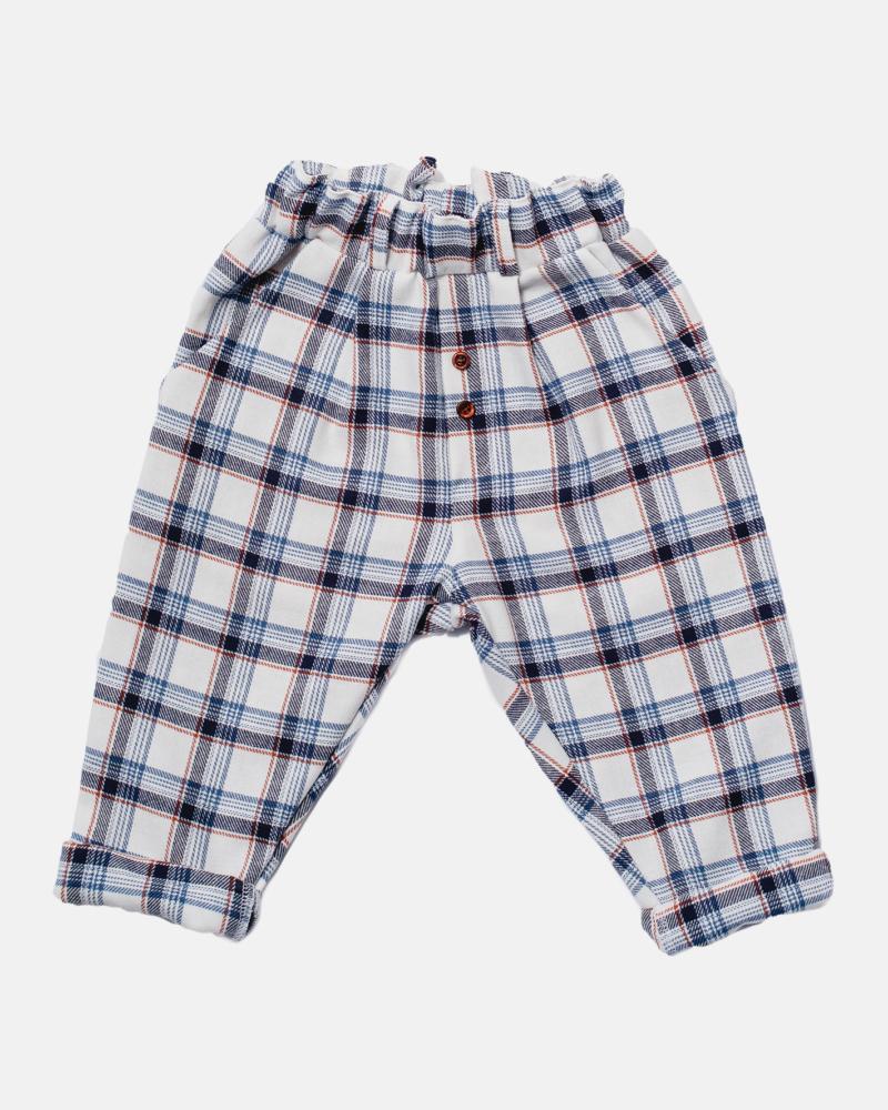 BIG GRILLE PANTS ecru/blue/orange