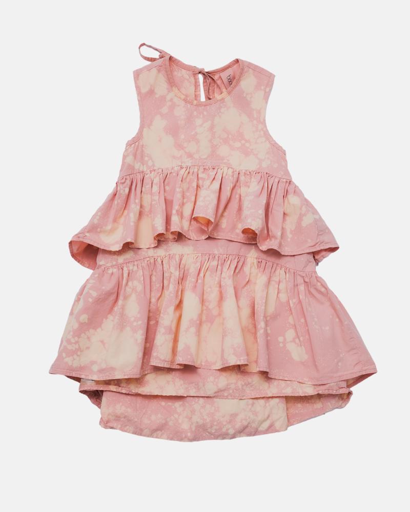WAVE COLDDYE DRESS pink/ecru