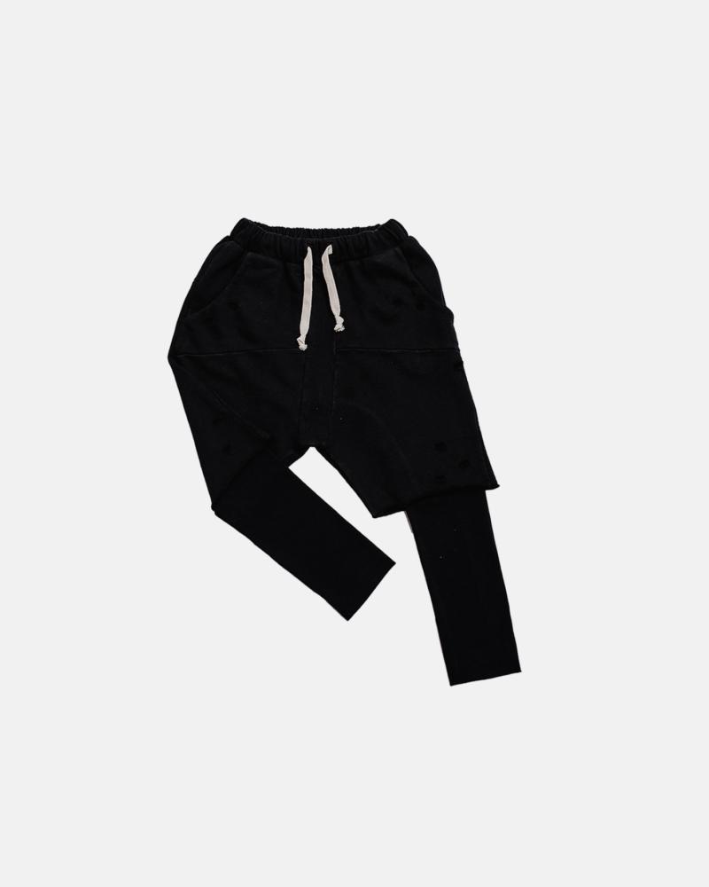 DOUBLE TORN PANTS black
