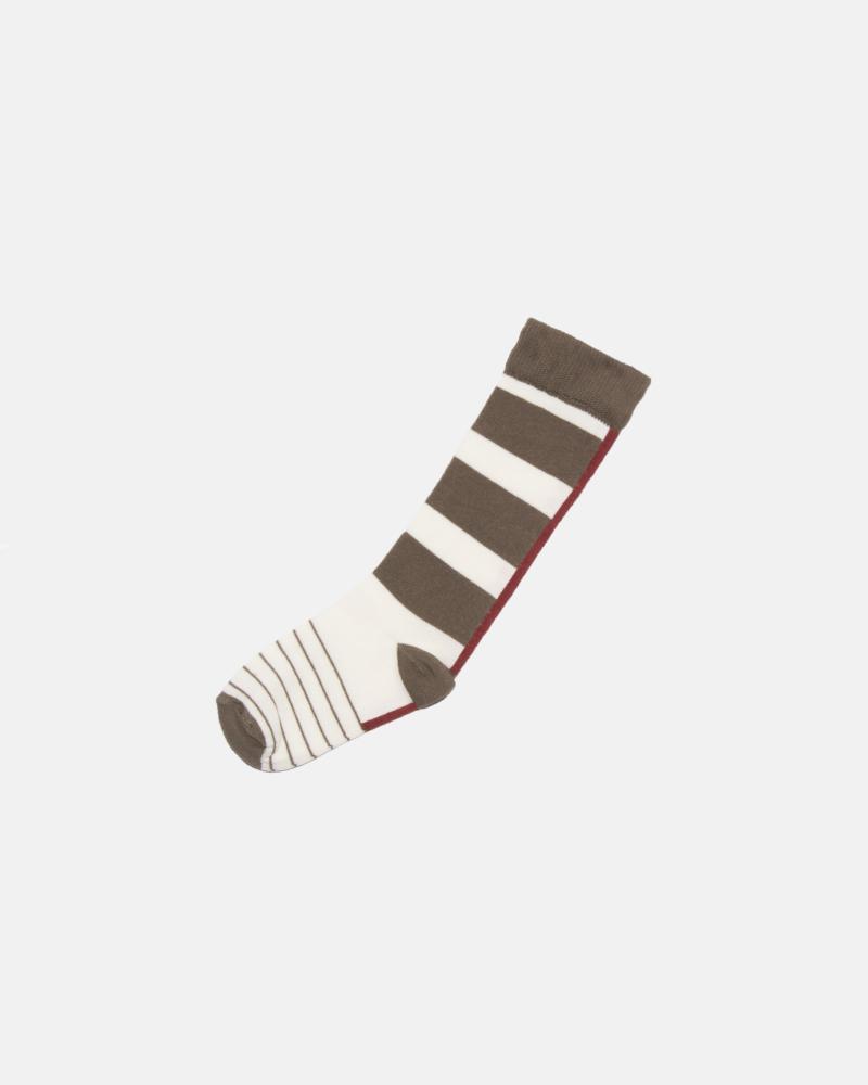 skarpetki dziecięce- STRIPED SOCKS beige/brown/terra