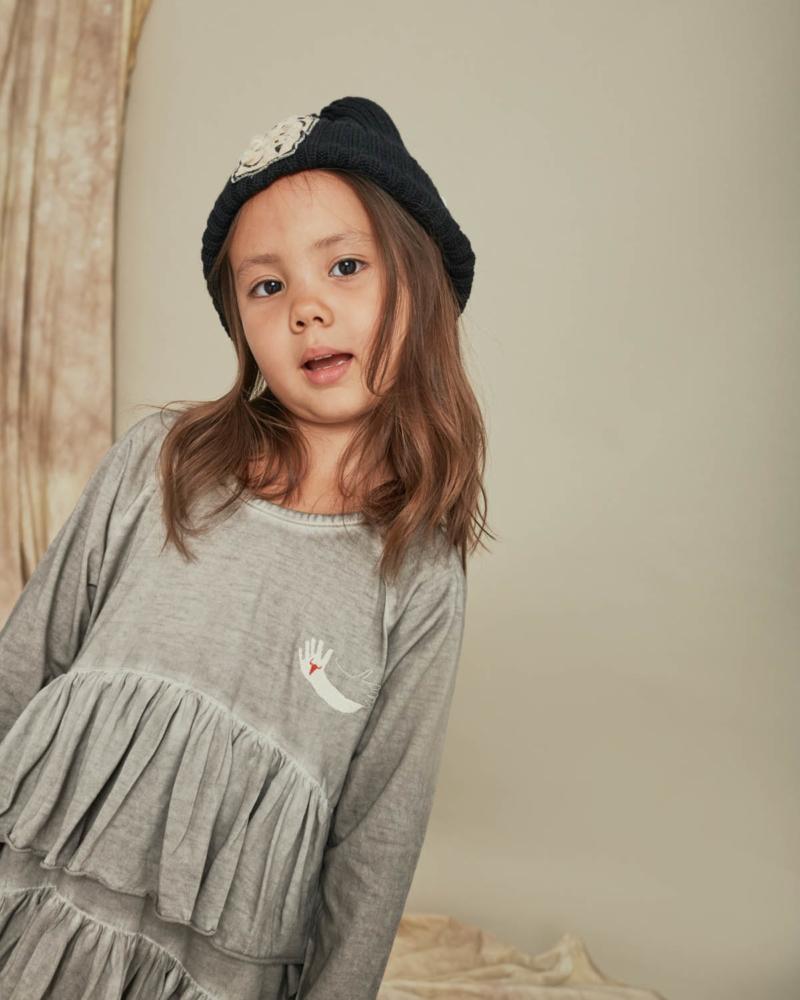 sukienka dziecięca- WAVE COLDDYE DRESS gray